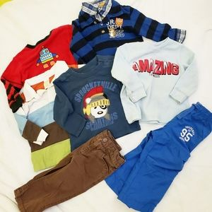 7 piece boys Winter bundle 12-18 mos. 5tops 2pants